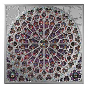 Věhlasná katedrála Notre Dame v Paříži - jižní rozeta - exkluzivní stříbrný numizmat s autentickou skleněnou vitráží