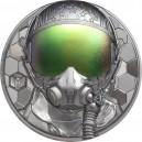 Skuteční hrdinové nebes - bojový pilot na atraktivní stříbrné minci s vysokým reliéfem