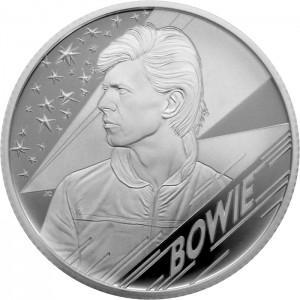 Legendární britský zpěvák David Bowie na atraktivní stříbrné minci