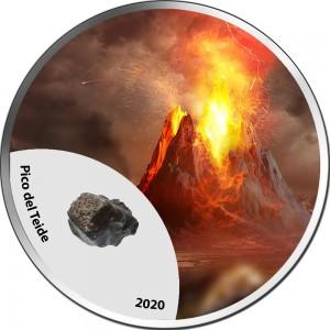 Fascinující vyobrazení sopek - exkluzivní sada stříbrných minci s úlomky pravých sopečných kamenů
