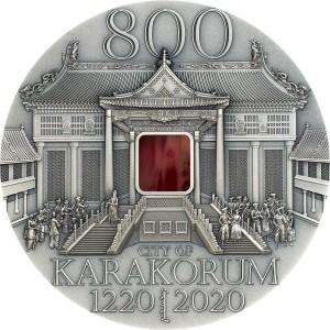 800. výročí věhlasného Čingischánova města Karakorum na atraktivní stříbrné minci - Tiffany edice