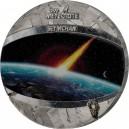 Vzácná mince kompletně zhotovená z vzácného pallasit meteoritu Seymchan