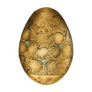 Fascinující Fabergého vejce (3D) s vyobrazením čtyřlístků na exkluzivní stříbrné minci zušlechtěné ryzím zlatem