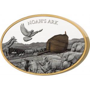 Věhlasná Noemova archa na exkluzivní stříbrné minci s pravým olivovým dřevem ze Svaté země