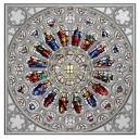 Věhlasné Westminsterské opatsví v Londýně - severní rozeta - exkluzivní stříbrný numizmat s autentickou skleněnou vitráží