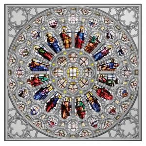 Věhlasné Westminsterské opatství v Londýně - severní rozeta - exkluzivní stříbrný numizmat s autentickou skleněnou vitráží