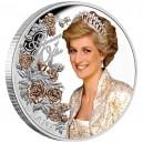 Legendární princezna Diana z Walesu na parciálně zlacené a kolorované exkluzivní stříbrné minci