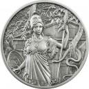 Věhlasná starověká bohyně Athéna na atraktivní a detailně zpracované stříbrné minci s vysokým reliéfem