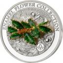 Cesmína symbol Vánoc a štěstí na exkluzivní stříbrné minci parciálně zušlechtěné ryzím zlatem s unikátním použitím skloviny