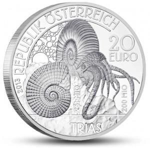 Pravěký podmořský svět (období Triasu) na atraktivní stříbrné minci