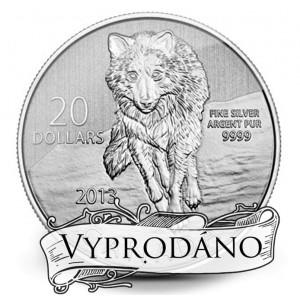 Vlk - symbol kanadské přírody na ryzí stříbrné minci