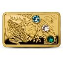 """Umělecké vyobrazení jara na atraktivní zlaté mincí - první mince ze série """"Magický rok štěstí"""""""