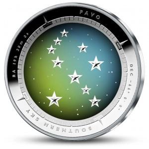 Souhvězdí Páva na originální stříbrné minci