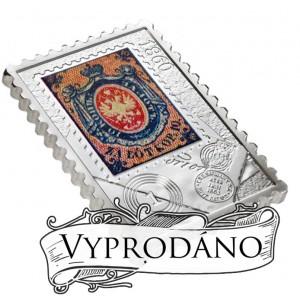 Vyobrazení první polské známky z roku 1860 na stříbrné minci