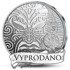 Maori Koru - precizní vyobrazení maorského umění na stříbrné minci