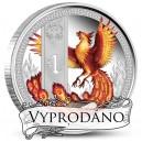 Bájný pták Fénix na atraktivní kolorované minci