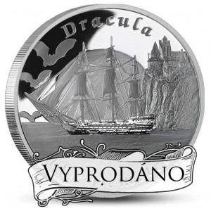Bílá velryba - vyobrazení lodi Pequod - literární legenda na stříbrné mincí