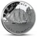 Literární legenda Drákula na atraktivní stříbrné minci – vyobrazení lodi Demeter