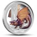 Bájný drak na atraktivní kolorované minci