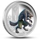Bájný vlkodlak na atraktivní kolorované minci