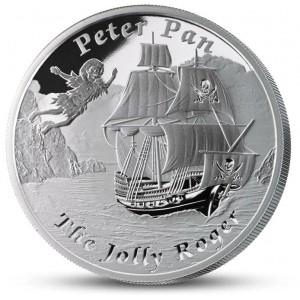 Literární legenda Petr Pan na atraktivní stříbrné minci – vyobrazení lodi Jolly Roger