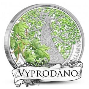 Atraktivní vyobrazení kanadského javorového stromu na kolorované minci (podzim)