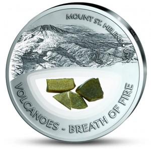 Vulkán St. Helens - vzácná patinou broušená mince s pravými sopečnými kameny