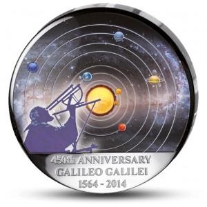 450. výročí narození Galileo Galilee na originálně vypouklé minci