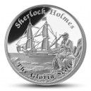 Literární legenda Sherlock Holmes na atraktivní stříbrné minci – vyobrazení lodi Gloria Scott