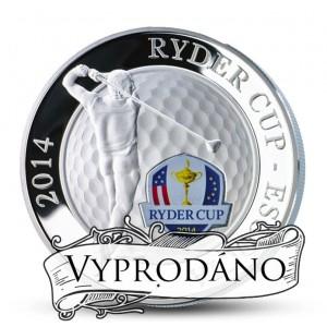 Ryderův pohár 2014 (Ryder cup) - prestižní golfový turnaj vyobrazený na atraktivní stříbrné minci