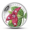 Červený trillium - mincovní skvost se třemi krystaly Swarovski ve tvaru kapek ranní rosy