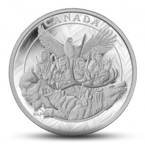Válečná památka k uctění původního obyvatelstva Kanady na vysoce limitované minci (150)