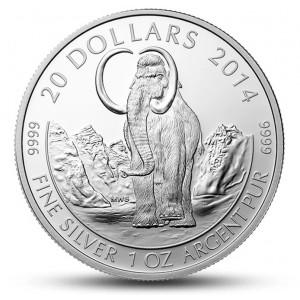 Prehistorický mamut vlněný na atraktivní stříbrné minci