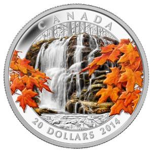 Podzimní kanadské vodopády na atraktivní minci, která byla již během několika týdnů celosvětově vyprodána!