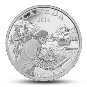 Objevení kanadského západního pobřeží na atraktivní stříbrné minci
