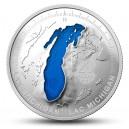 Michiganské jezero na unikátní stříbrné minci ze série Nejznámější jezera Kanady