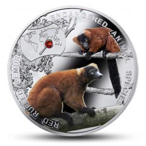 """Lemur červený s krystalem Swarovski ze série """"Ohrožené zvířecí druhy"""""""