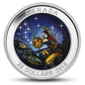 """Souhvězdí Velký vůz na originální minci, kdy hvězdy se rozzáří přímo u Vás doma ve tmě (""""Raněná medvědice"""")"""