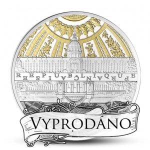Věhlasné stavby Paříže na minci zušlechtěné ryzím zlatem a rhodiem