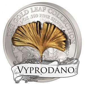Zlatý list (3D) Ginkgo Biloba na atraktivní stříbrné minci