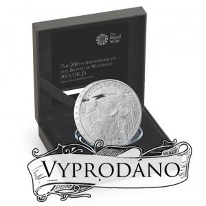 200. výročí věhlasné bitvy u Waterloo na atraktivní stříbrné minci (Piedfort)