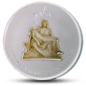 Michelangelova Pieta  - mistrovské dílo renesančního sochařství na originálně tvarované minci