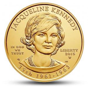 Jacqueline Lee Bouvierová Kennedyová Onassisová na atraktivní zlaté minci