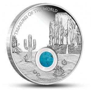 """.Unikátní stříbrná mince s tyrkysem ze světově známe série """"Poklady Světa"""""""