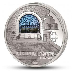 """Věhlasný kostel Dominus Flevit v Jeruzalémě - atraktivní stříbrná mince s populární série """"Nebeská okna"""""""
