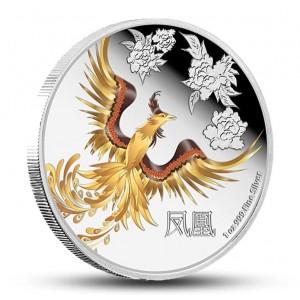 Feng - šuej Fénix - symbol ženské energie na atraktivní stříbrné minci