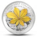Zlatý list (3D) kaštanovníku - umělecký mincovní skvost