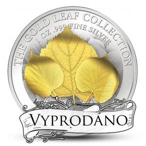Zlatý list (3D) lípy - umělecký mincovní skvost