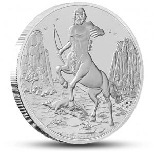 Kentaur - mytologické antické stvoření na atraktivní stříbrné minci