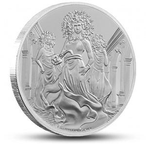 Gorgona - mytologické antické stvoření na atraktivní stříbrné minci